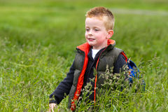 Young boy playing in the fields Stock Images