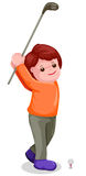 Young boy playing golf. Illustration of young boy playing golf on white background Royalty Free Stock Photography