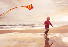Young boy playing with kite Royalty Free Stock Photo