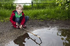 Young boy playing at a puddle Stock Images