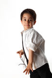 Young boy playing with rosary Stock Photography
