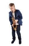 Young boy playing the sax. Isolated on white Stock Photos