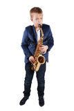 Young boy playing the sax. Isolated on white Royalty Free Stock Photo