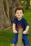 Young boy playing on a seesaw. A young boy playing on a see-saw in a park Royalty Free Stock Image