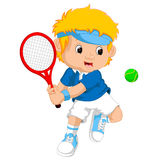 Young boy playing tennis with a racket. Illustration of Young boy playing tennis with a racket vector illustration