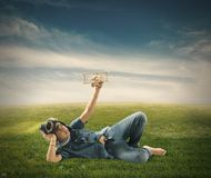 Young boy playing with toy airplane Royalty Free Stock Images