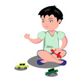 Young boy playing toy cars vector illustration