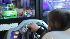 A young boy playing video games.  stock footage