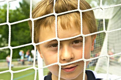 Young boy plays soccer Royalty Free Stock Photography