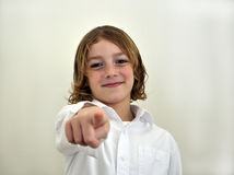 Young boy pointing Stock Image