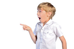 Young boy pointing Stock Photo