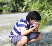 Young boy with pollen allergy white handkerchief Royalty Free Stock Photo