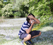 Young boy with pollen allergy Royalty Free Stock Photo