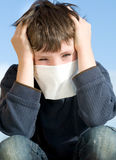 Young boy with pollution mask outdoor Royalty Free Stock Images