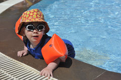 Young boy at poolside. In swimsuit and swimming glasses Royalty Free Stock Photos