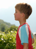 Young boy portrait. Young child portrait photographed outdoors Royalty Free Stock Photography