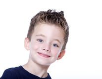 Young boy portrait. Young happy boy portrait on white background Royalty Free Stock Image