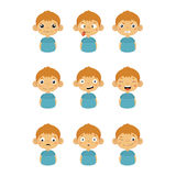 Young Boy Portrait Icons With Different Emotions Royalty Free Stock Image