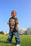 Young Boy Posing on the Grass Stock Photos