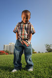 Young Boy Posing on the Grass stock photography