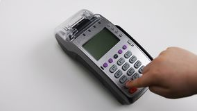 Young boy lieing on the floor pressing pos terminal buttons. Modern technologies for kids. Pos machine practice. Kids education stock footage