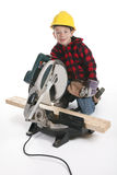 Young boy pretending to be a carpenter Stock Photography