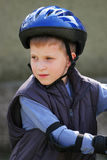 Young boy in protective helmet Stock Images