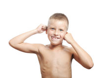 Young boy pulling a funny face Royalty Free Stock Images