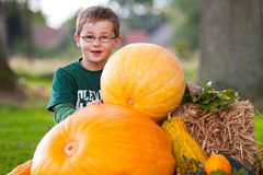 Young boy with pumpkin outdoor Stock Photo