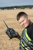 Young boy with radio control Royalty Free Stock Image