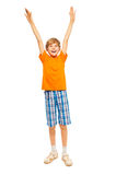 Young boy raises hands up Stock Images