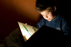 Young boy reading book Stock Images