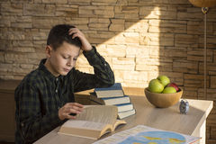 Young Boy Reading Book and Studying on Table at Home Stock Images