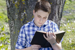 Young boy reading a book in the woods with shallow depth of fiel Stock Photos