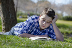 Young boy reading a book in the woods with shallow depth of fiel Royalty Free Stock Photo