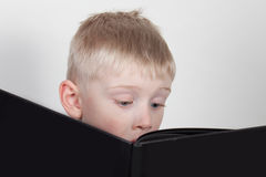 Young boy reads book Stock Image