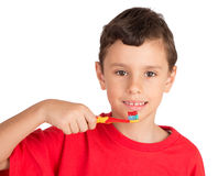 Young Boy Ready To Brush His Teeth Stock Photos