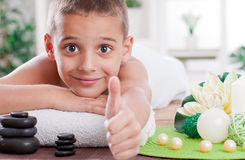 Young boy ready to treatment in spa salon Stock Photography