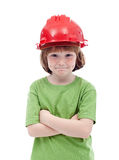 Young boy with red hardhat Stock Photography