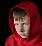 Young boy with red hood Stock Photography