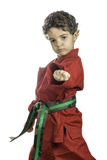 Young Boy in a Red Karate Uniform Stock Image