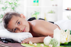 Young boy relaxing in spa salon Stock Images