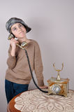 Young boy on the retro telephone Stock Photos