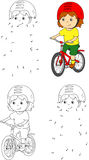 Young boy riding a bicycle in helmet. Vector illustration. Color Stock Photo