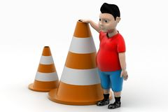 Young Boy and Road Cones In Isolated Background Royalty Free Stock Image