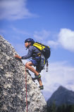 Young Boy Rock Climbing. Royalty Free Stock Photography
