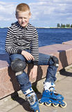 Young boy rollerblader Stock Image