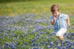 Young Boy Running In Fields Of Blue Bonnets Stock Photography