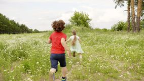 Young boy running to girl on green field. Children playing in catch up outdoor stock video