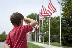 Young boy saluting American flags on Memorial Day. A young caucasian boy salutes American flags at a Memorial Day display Royalty Free Stock Image